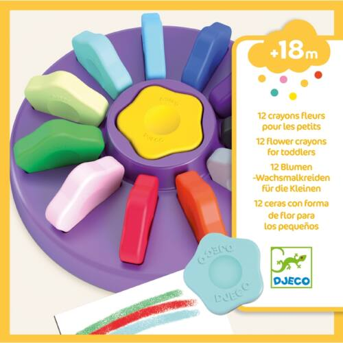 Djeco Marokkréta - 12 színű vírág - 12 flower crayons for toddlers