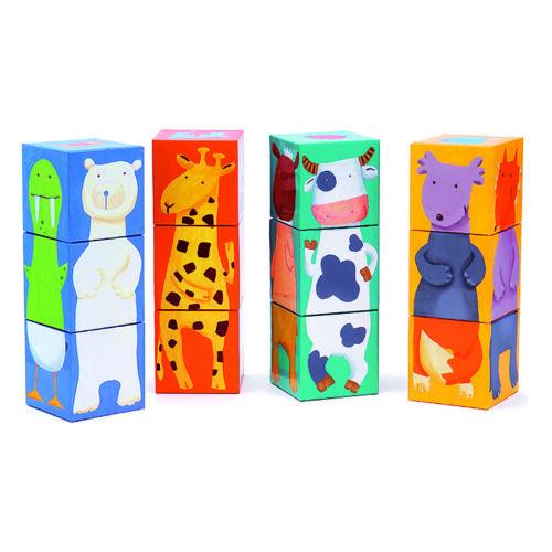 Djeco Kockakirakó - Vidám állatos építő - Colour animals